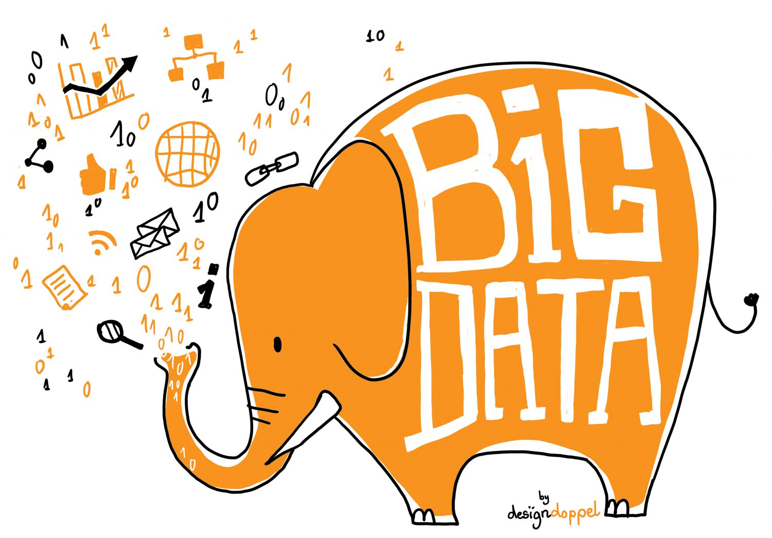 Big Data Illustration Designdoppel Visualisierung Daten Elefant