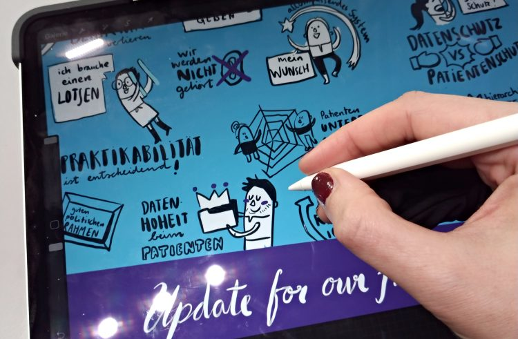 digitales Graphic Recording digital iPad Visualisierung Digital Health Conferrence 2019